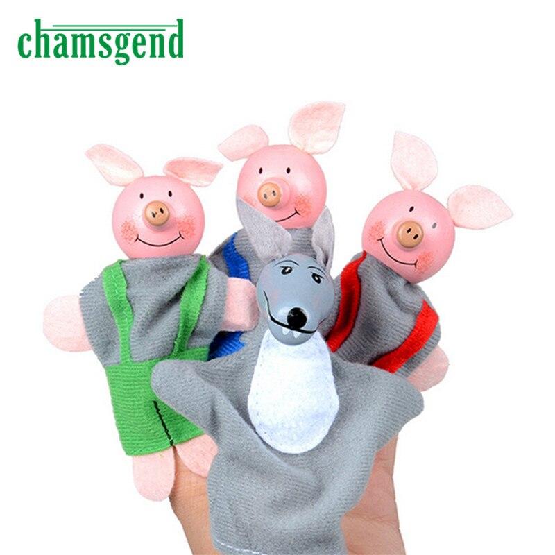 4PCS Tre smågrisar och Wolf Finger Dollets Handdukar Julklappar Toy N1302