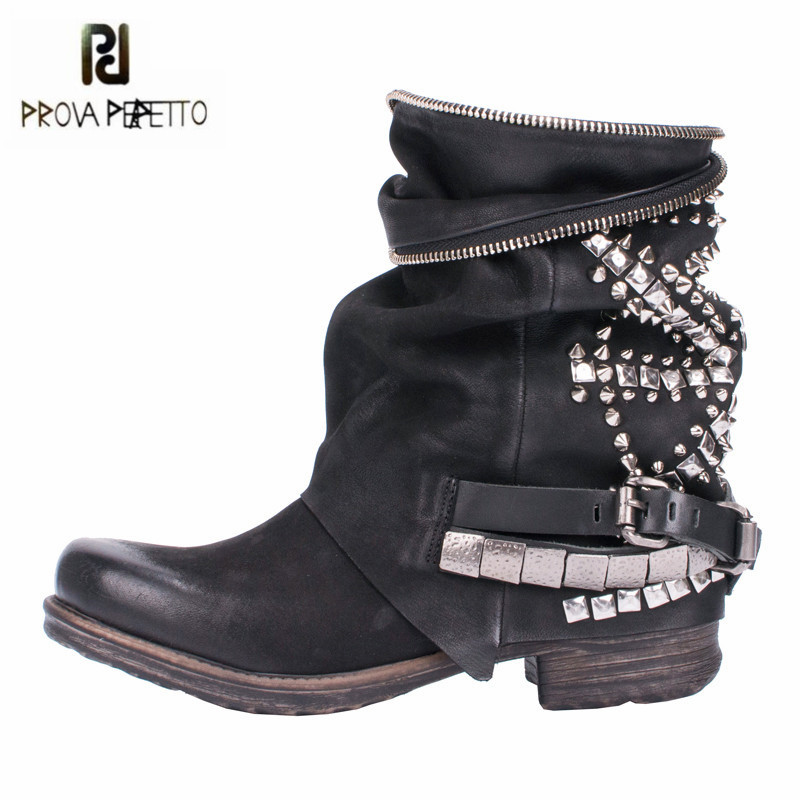 Prova Perfetto Black Rivets Studded Ankle Boots for Women Punk Style Autumn High Boots Genuine Leather Platform Rubber Flat Boot prova perfetto yellow women mid calf boots fashion rivets studded riding boots lace up flat shoes woman platform botas militares