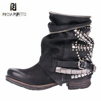 Prova Perfetto Black Rivets Studded Ankle Boots For Women Punk Style Autumn High Boots Genuine Leather