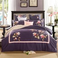 Floreale ricamato viola colore marrone set di biancheria da letto 100% cotone egiziano 4/6 pcs re queen size bed set federe