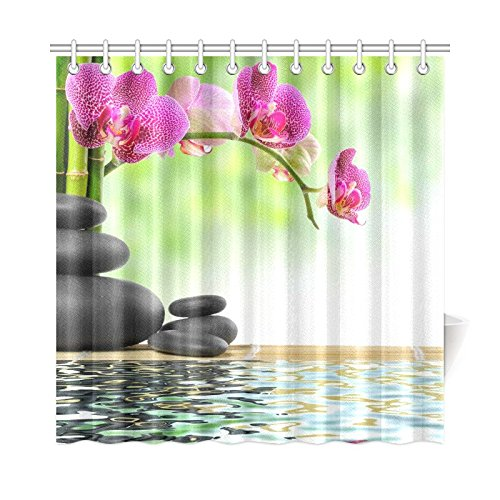 Zen Basalt Stones and Bamboo with Dew Print Polyester Fabric Shower Curtain, 72 x 72 Inches