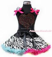 Valentine strass arc - en - coeur noir débardeur arc Zebra Pettiskirt jupe ensemble 1-8Y MAPSA0201