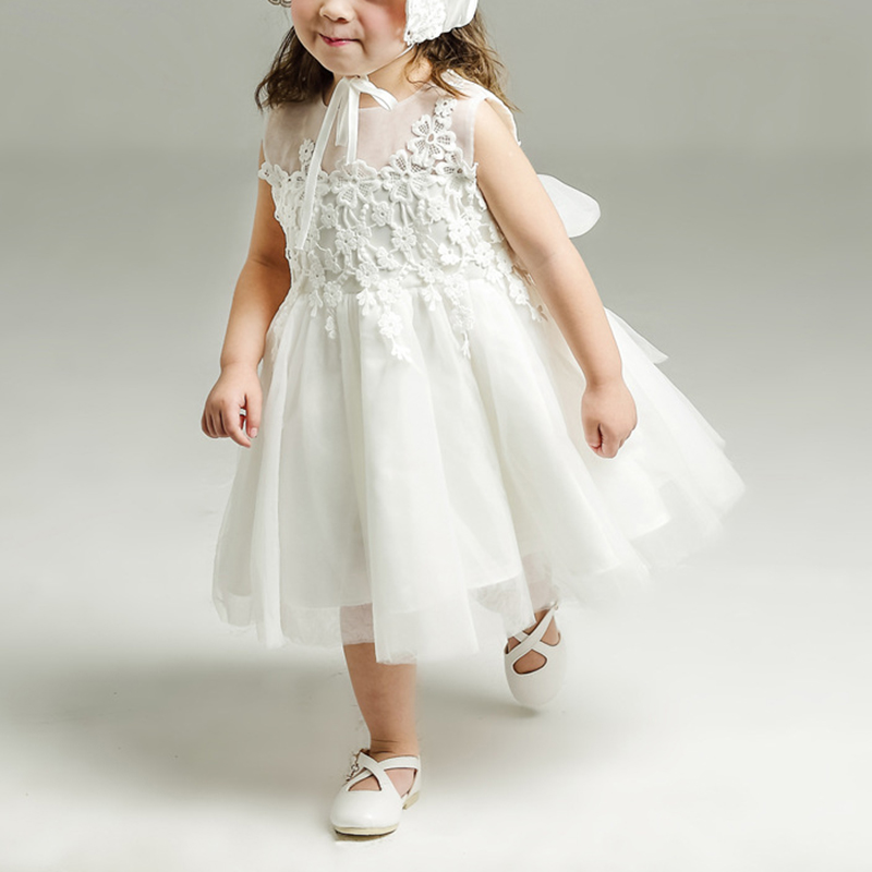 Christening Gowns From Wedding Dresses: Summer Baby Girl Wedding Dresses With Hat Bow Lace