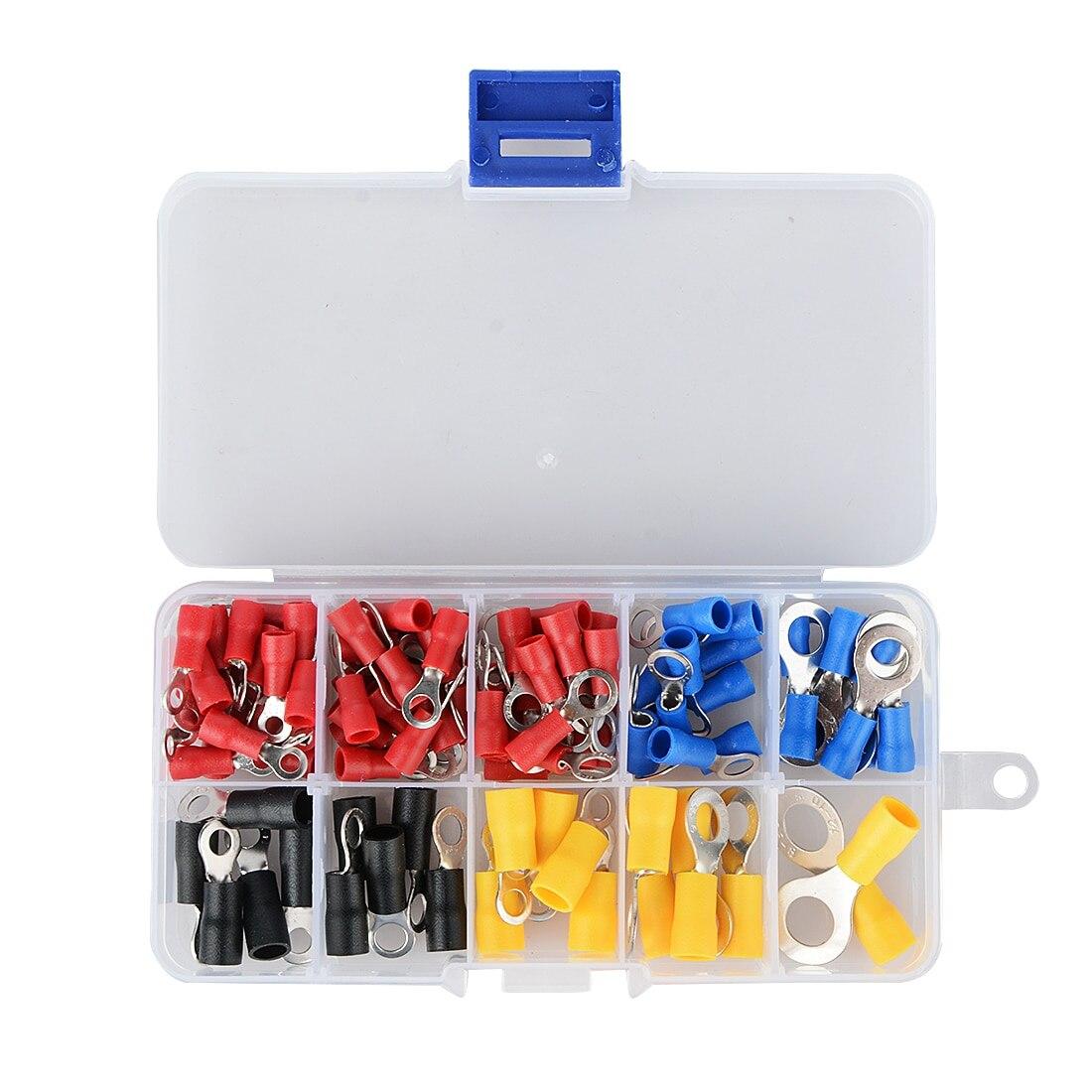 (102 Pcs 10 Arten Rv) Ring Terminal Elektrische Crimp Stecker Kit Set Mit Box, Kupfer Draht Isolierte Cord Pin End Butt Geschickte Herstellung