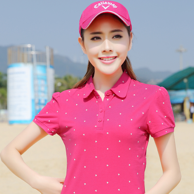 women's Sexy Polo New Fashion Little Cherry Print High Quality Cotton Short Sleeve Casual Women Polo Shirt Brand Plus Size