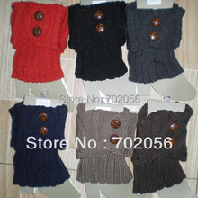 Solid Winter button Knit Crochet Acrylic Leg Warmers Boot Covers Women Dance wear 20 pairs/lot mixed #3401
