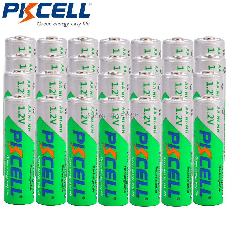 28Pcs PKCELL NIMH AA Rechargeable Batteries 2200mAh <font><b>1.2V</b></font> <font><b>Ni</b></font>-<font><b>MH</b></font> 2A flashlight toy Baterias Bateria image