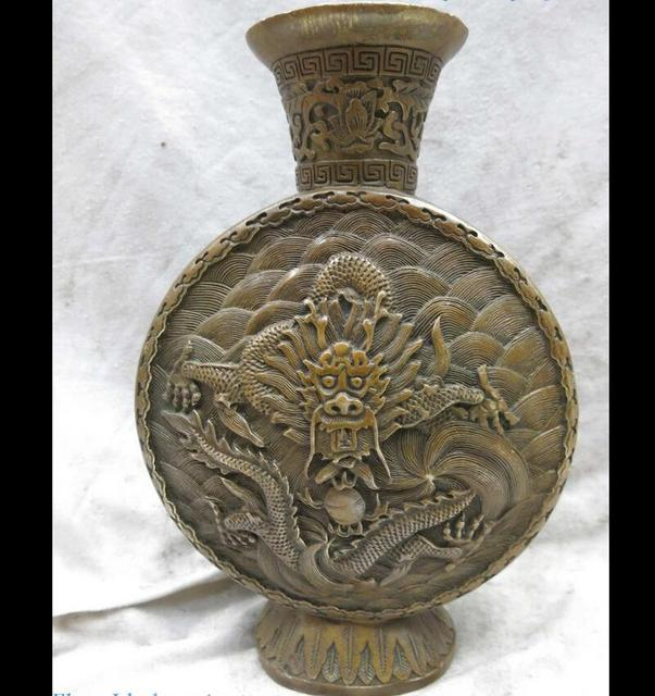 Zhmui880062649911 Fine Brass Carved China Copper Lucky Water