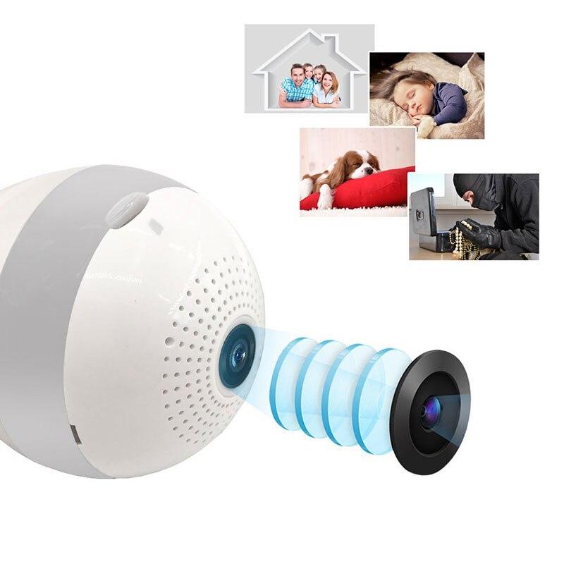 Maison intelligente lumière LED WiFi panoramique caméra ampoule sans fil IP caméra 3D VR Fisheye caméra maison sécurité 360 degrés Vision nocturne