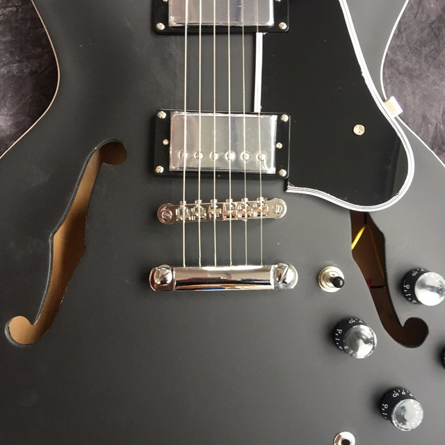 Chinese Maple Finish Black Frosted Guitar Jazz Body Hollow With Hardware Chrome Custom Left-handed Available 1