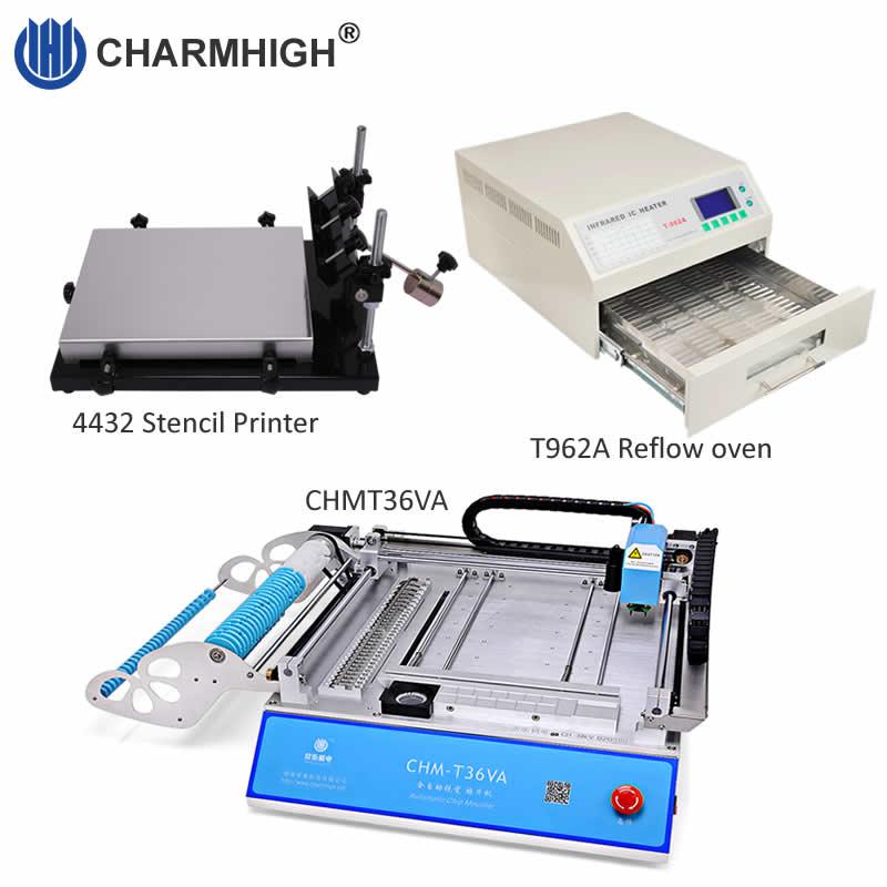 Discount SMT Production line CHMT36VA Vision Pick and Place Machine 4432 Stencil Printer Reflow Oven T962A