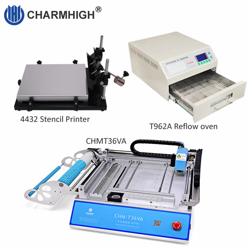 Discount! SMT Production line: CHMT36VA Vision Pick and Place Machine + 4432 Stencil Printer + Reflow Oven T962A, PCB assembly-in Welding Nozzles from Tools    1