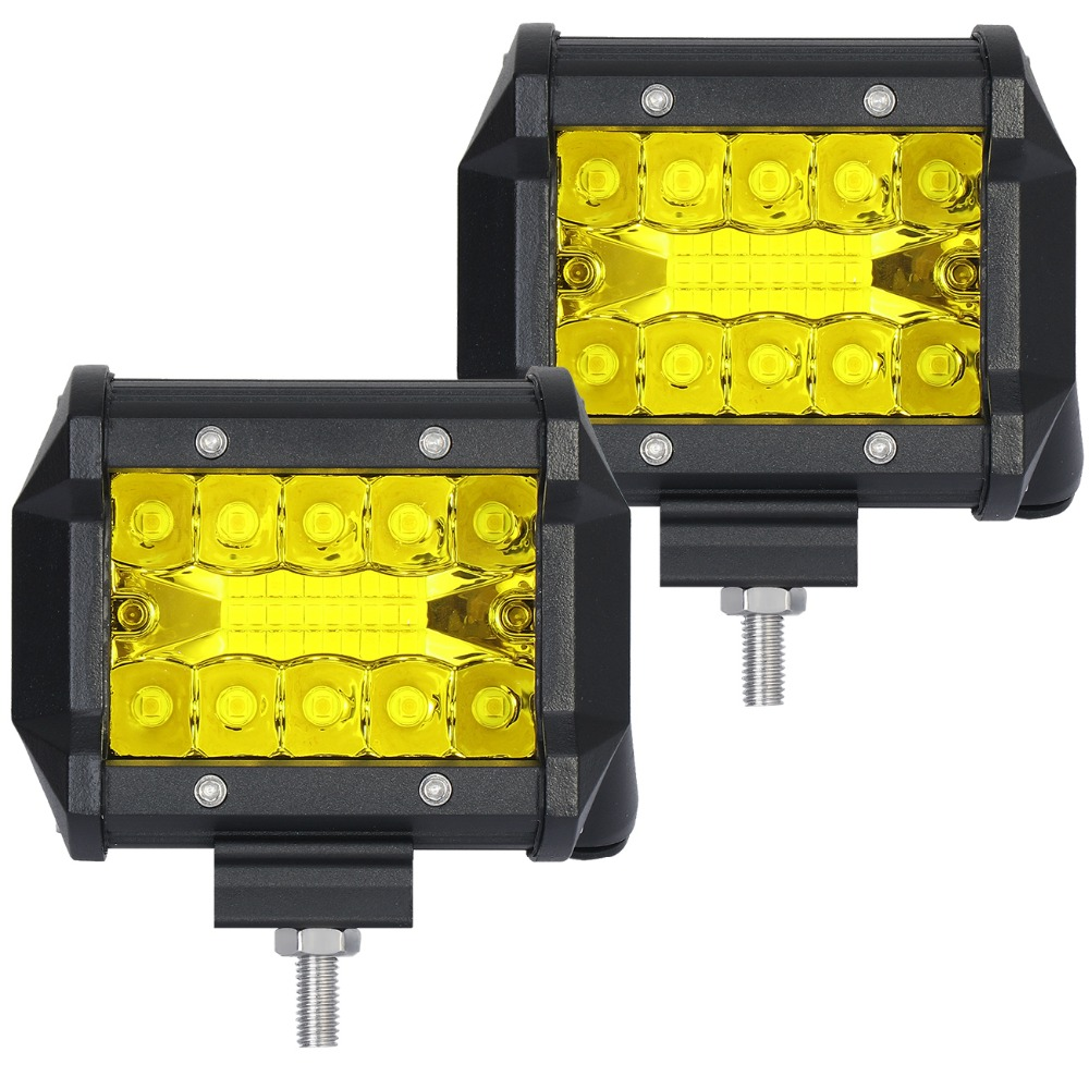 LM 2pcs LED 20W Work font b Lamp b font White Yellow 4 Inch Light Bar