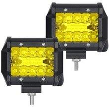 LM 2 шт. светодиодный 20 Вт работы лампы белый желтый 4 дюймов светлая полоса 24 В 12 В IP67 Cmobo для 4×4 OFF ROAD ATV Грузовик Лодка UTV SPOTLIGHT