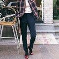 Kesebi J2FE220 #8356 2016 Nueva Mujer de Talle Alto Pantalones Suelta más Mujeres de Invierno Gruesa Caliente Encuadre de cuerpo entero Recta pantalones