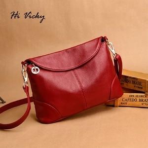 Image 1 - 2018 Hot High Quality Women Handbag Luxury Red Messenger Bag Soft Genuine Leather Fashion Ladies Crossbody Bags Female Bolsas