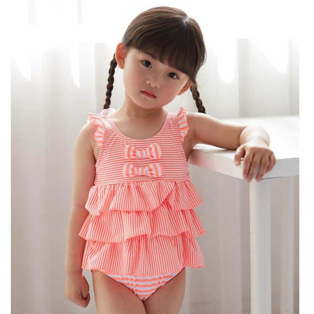 47320b5e02ca1 placeholder 2018 new Korean version of baby cute children's swimsuit little  princess striped cake Siamese girls swimwear