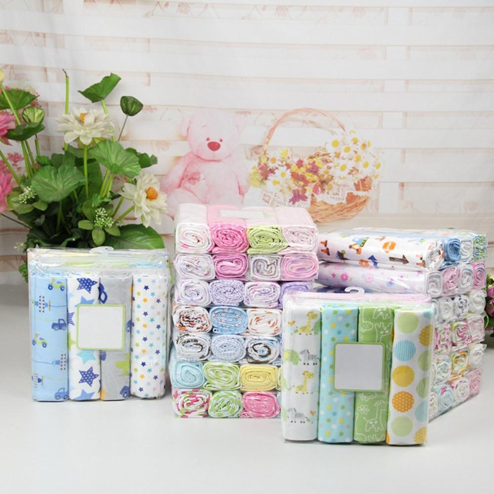 4pcs/lot Newborn Baby Bed Sheet Bedding Set 76x76cm For Newborn Crib Sheets Cot Linen 100% Cotton Flannel Printing Baby Blanket