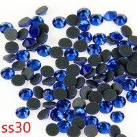 40 Gross Blue Hot Fix Rhinestones SS30 Iron on Garment Machine Cut Transfer Hot Fix Stones For Clothing Fashion DIY