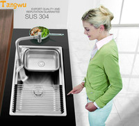 Kitchen Sinks Free shipping 304 stainless steel wire drawing process with a quick drain and drain kitchen sink