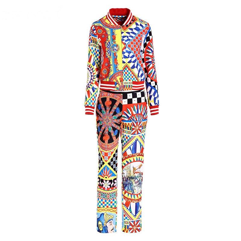 Multi Géométrique Manteau Coloré D'exercice Femmes Svoryxiu Longues Imprimé Mode Pantalon Manches Ensemble À Décontracté Des Piste 2 Pièce Automne Vêtement nHO7Sqw