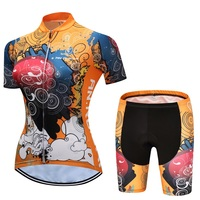 Fashion Sky Pro Team Cycling Jersey Set Kits Women Summer Bike Clothes MTB Ropa Ciclismo Bicycle Maillot Quick Dry 9D Gel Pad