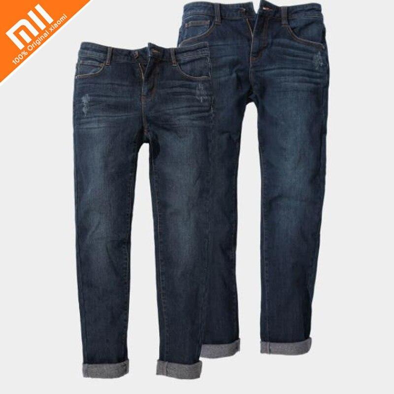 Оригинальные xiaomi mijia 90 очков тонкие маленькие прямые легкие теплые джинсы удобные дикие джинсы высокого качества для мужчин и женщин Горячи...