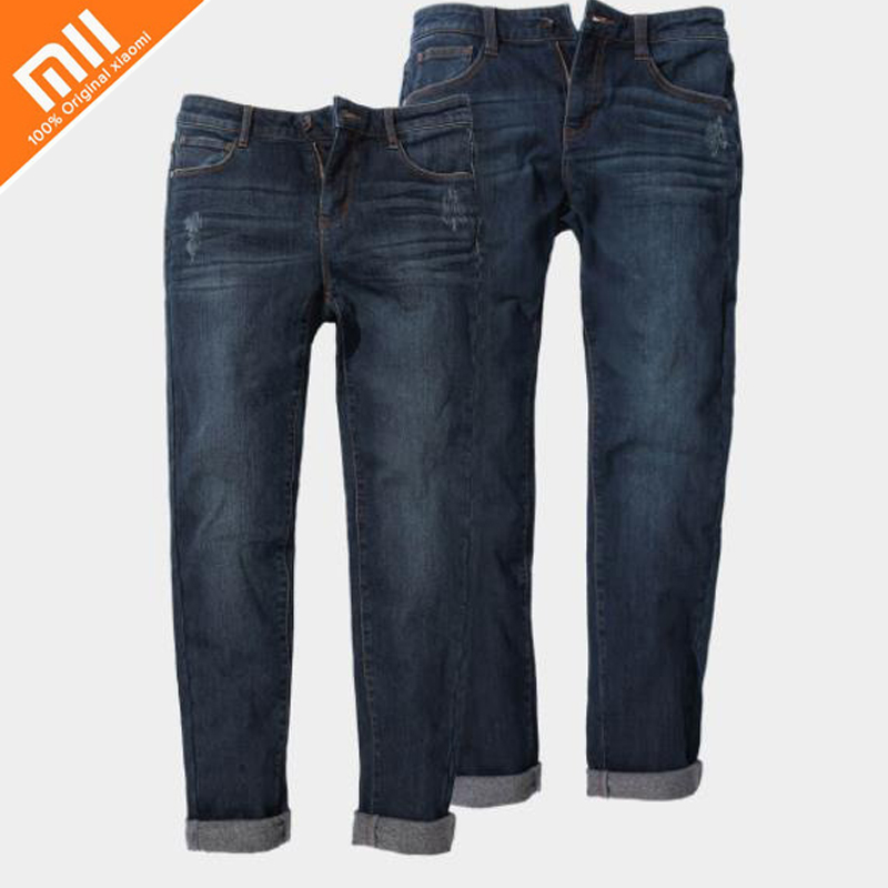 Original xiaomi mijia 90 points Slim small straight light warm jeans comfortable wild high quality jeans for men and women HOT brand 2017 new fashion men s straight flanging nine points trousers big embroidered jeans black and blue jeans male m xxl