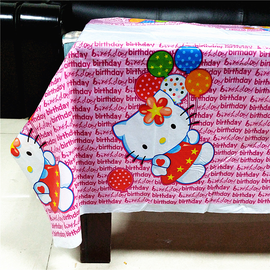 108x180cm Hello Kitty Party Supplies Disposable Tablecloth kids Birthday Decoration Baby ...