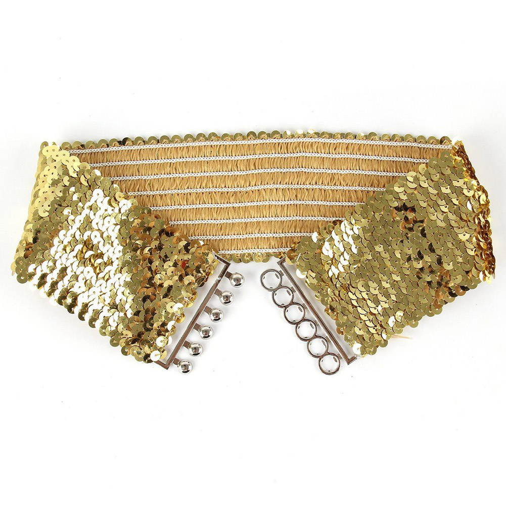 YJSFG HOUSE Fashion Lady Sequin Cummerbunds Vintage Glitter Elastic Wide Belt Women's Dress Accessories Belt Waist Seal Gold HOT