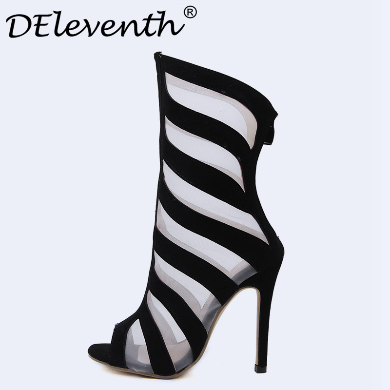 DEleventh Brand Design Wonens Sandals Stiletto High Heels Sandals Sexy Hollow Out Fashion High-heeled Femme Boots Summer Shoes