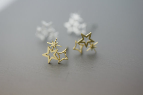 Fashion Shiny Triple Star Hollow out Design Stud Earrings Jewelry For Women