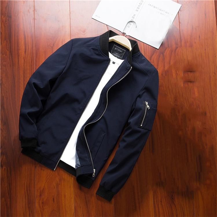 Men's Bomber Zipper Casual Streetwear Hip Hop Slim Fit Pilot Coat Men 25