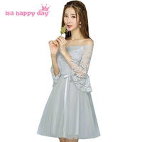 elegant women short grey off the shoulder formal classy tulle sleeved dress womens dresses cocktail party sexy for girls H4097