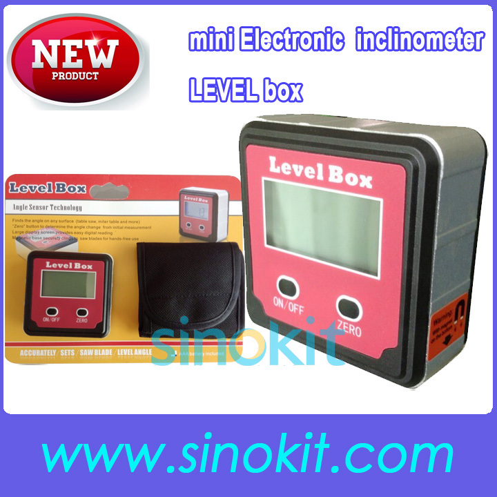 Free Shipping Wholesales mini Electronic digital inclinometer Level box STDJ-125