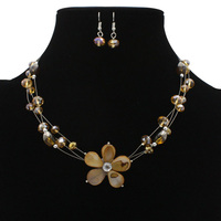 Flower Shell Necklace And Earrings Set Women Rhinestone Jewelry Set Cheap Costume Accessories Free Shipping Wholesale