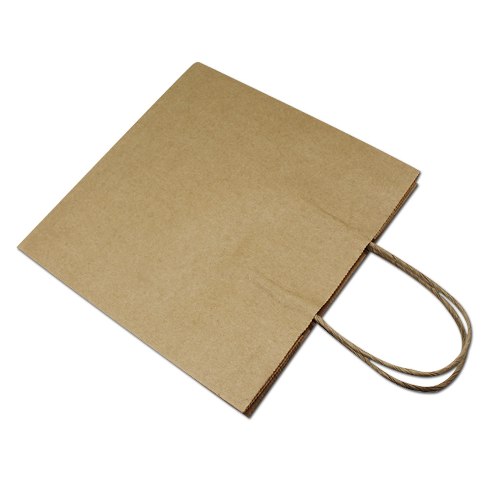 30Pcs Brown Kraft Paper Gift Bag With Handle Food Candy Bread Packaging Shopping Bags For Wedding Party 4 Sizes 6.3 Mil