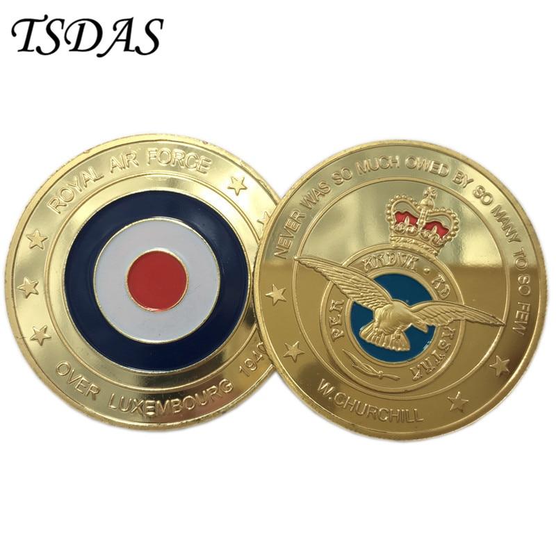 왕립 공군 동전 다채로운 순수 골드 도금 플라스틱 - 가정 장식