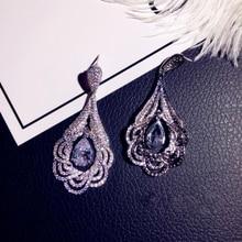 Big Long Stud Earrings 925 Sterling Silver Korean Earrings for Women WIth Zircon Stone Fashion Jewelry 2019 New cute korean earrings 925 sterling silver moon star long stud earrings with bling zircon stone for women fashion jewelry 2019