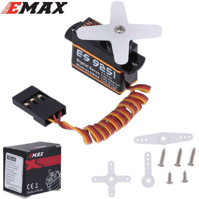 4set/lot Emax ES9251 2.5g Digital Servo RC servo 0.27kgf.cm For RC Helicopter Airplane Part (es08ma es08md es08a Wholesale) 1pc original emax es08ma ii mini metal gear analog servo 12g 1 8kg high speed upgrade es08ma