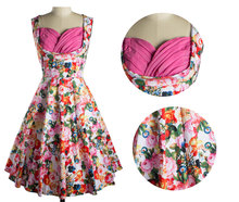 Women Retro Vintage Floral Print Tunic Ruched Swing Dress Ladies Elegant Sexy Prom Fitted Party Dresses