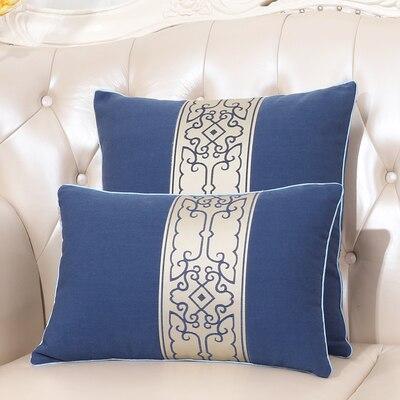 Последние европейские декоративные Чехлы для дивана, кресла, спинки, поясничная Подушка, роскошный Шелковый атласный чехол для подушки - Цвет: navy blue