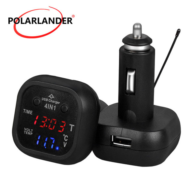 12v 24v Led Digital Display 4 In 1 Car Charger 2 1a Dual Usb Auto Battery