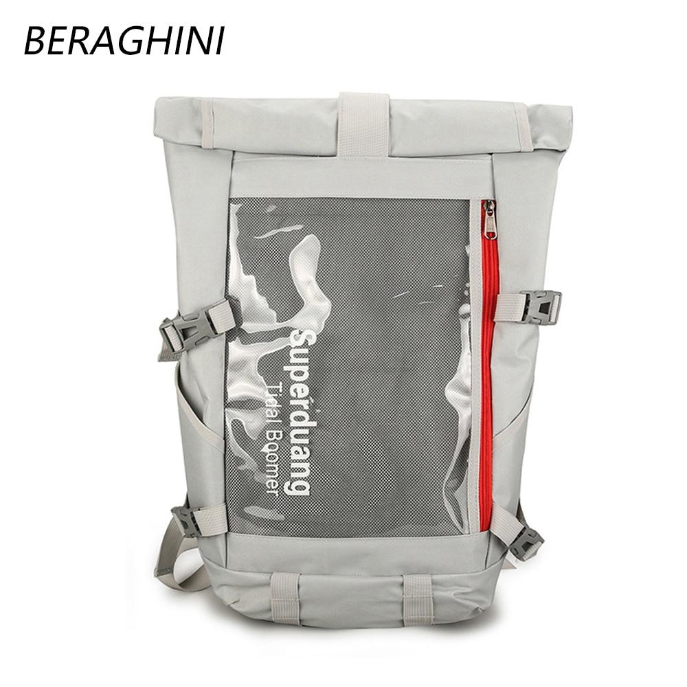 BERAGHINI 2019 Fashion Women Men Backpack Large Capacity Waterproof Travel Bag School Knapsack For Students Male Laptop Rucksack
