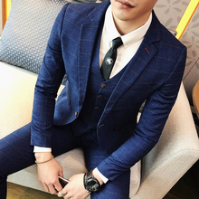 ( Jacket + Pants ) 2018 Spring and Summer New Men's Wedding Fashion Boutique Grid Business Leisure Suits Male Smart Casual Suits