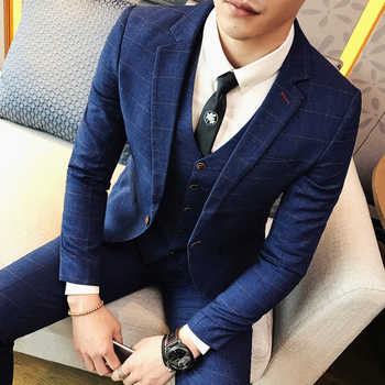 ( Jacket + Pants ) 2019 Spring and Summer New Men's Wedding Fashion Boutique Grid Business Leisure Suits Male Smart Casual Suits - DISCOUNT ITEM  40% OFF All Category