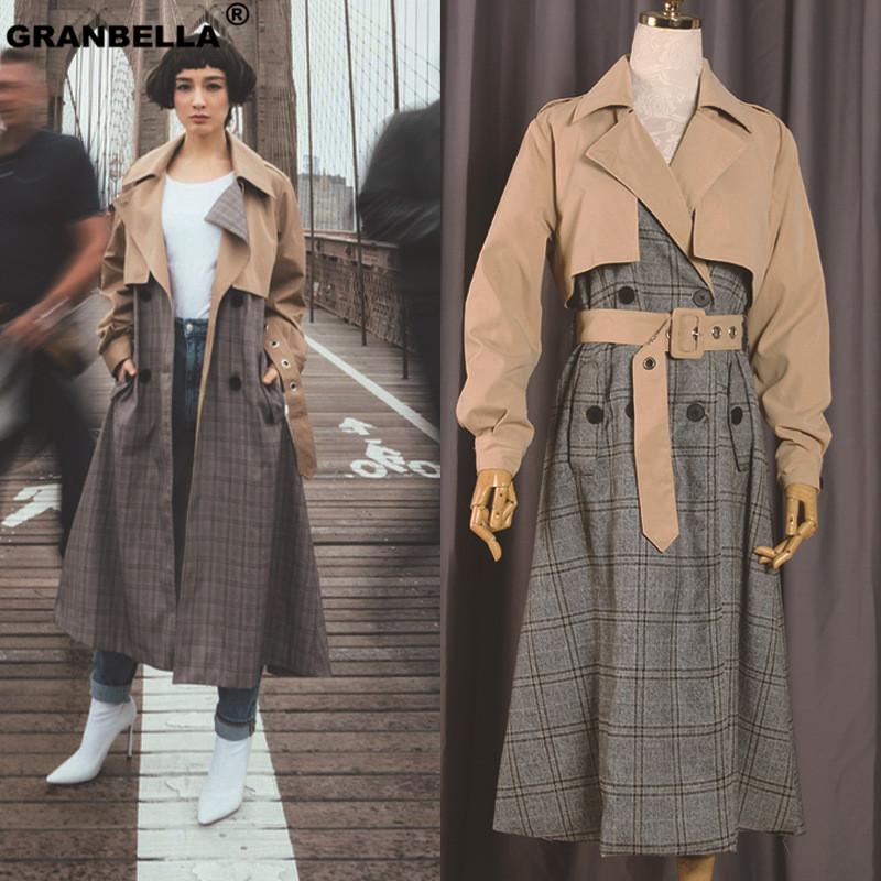 British Style Brand Fashion New Work Autumn/Spring Vintage   Trench   Coat For Women Feminine Plaid Female Coat X-Long Raincoat