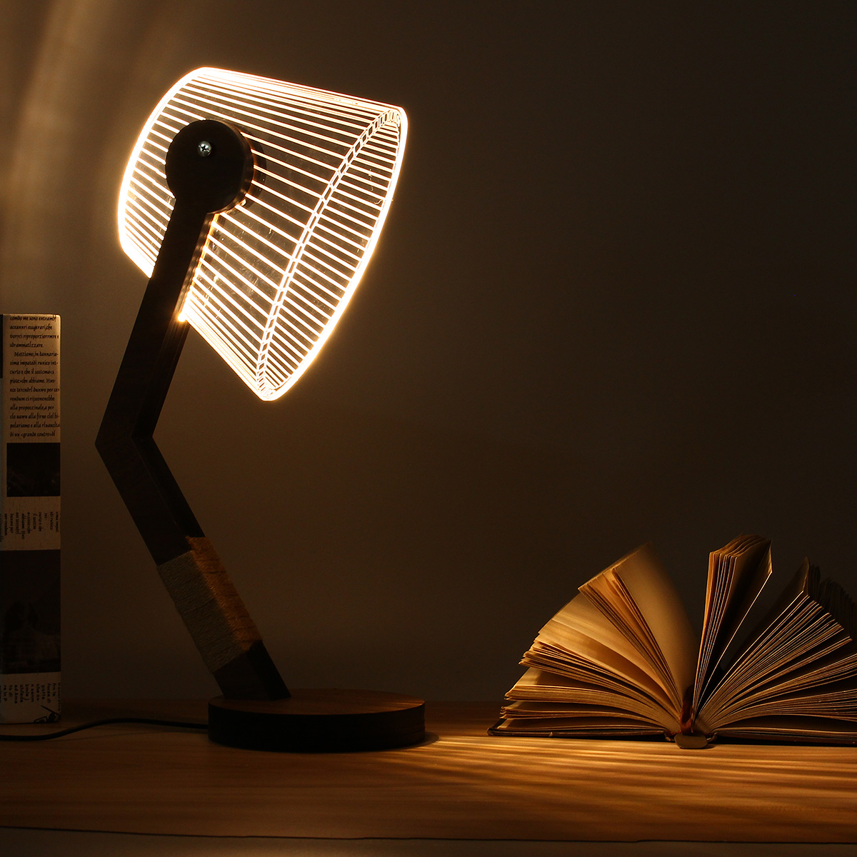Night Lights Adjustable 3D Wooden Stand Lamp Night Light Bedroom Table Desk Lamp Warm White Lighting Plug Connector Home Decor adjustable owl shaped 3d wooden stand lamp night light bedroom table desk lamp warm white lighting plug connector home decor