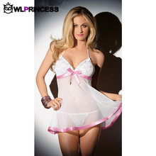 Owlprincess New fashion Novelty Sexy Lingerie net yarn babydoll Nightdress bow latex women Costumes white font