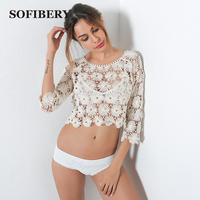 SOFIBERY Sexy Women S Blouses Shirts Rivets Flowers Women S Hollow Out Knitted Blouses Casual Shirt